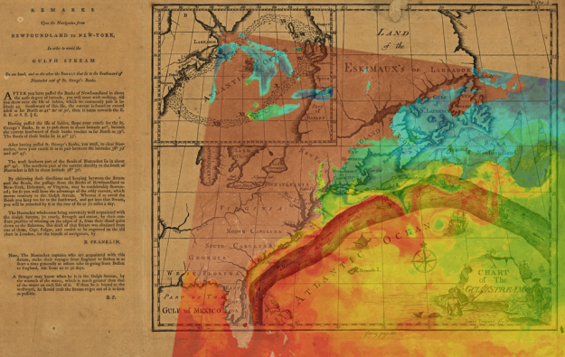 Benjimin Franklin's chart of the Gulf Stream overlaid with an image of sea surface temperature (SST) from AVHRR, showing the undulations of the Gulf Stream along with eddies shed from this boundary current.