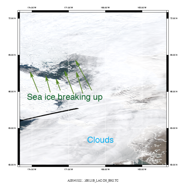 May 13th, 2014 composite True Color image of the Chukchi Sea region shown the breaking up of the sea ice.